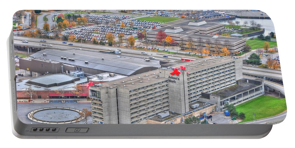 Portable Battery Charger featuring the photograph 018 Series Of Buffalo Ny Via Birds Eye Adams Mark by Michael Frank Jr