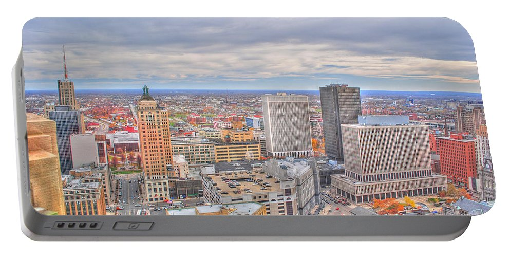Portable Battery Charger featuring the photograph 037 Series Of Buffalo Ny Via Birds Eye Downtown Buffalo by Michael Frank Jr