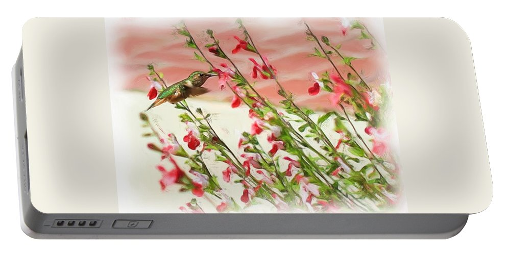 Red Portable Battery Charger featuring the photograph A Garden Delight by Heidi Smith