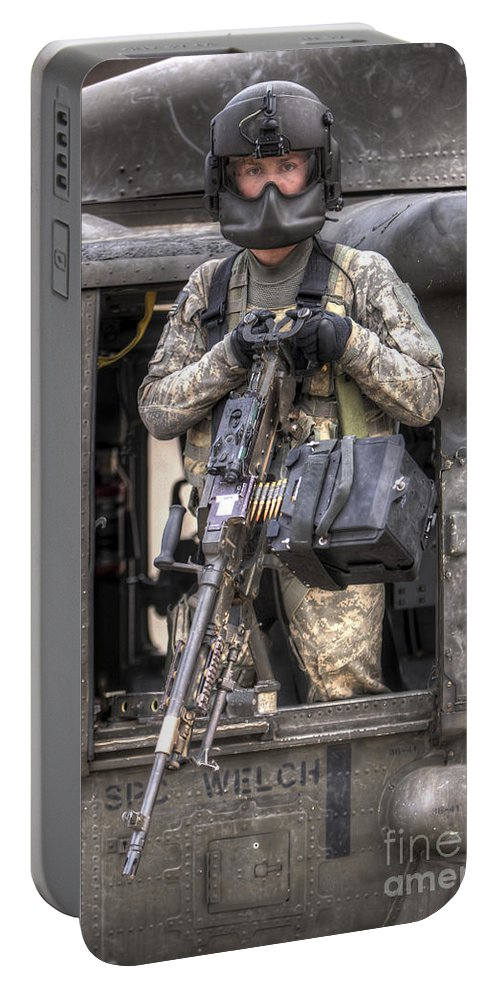 Aviation Portable Battery Charger featuring the photograph A Uh-60 Black Hawk Door Gunner Manning  sc 1 st  Fine Art America & A Uh-60 Black Hawk Door Gunner Manning Portable Battery Charger for ...
