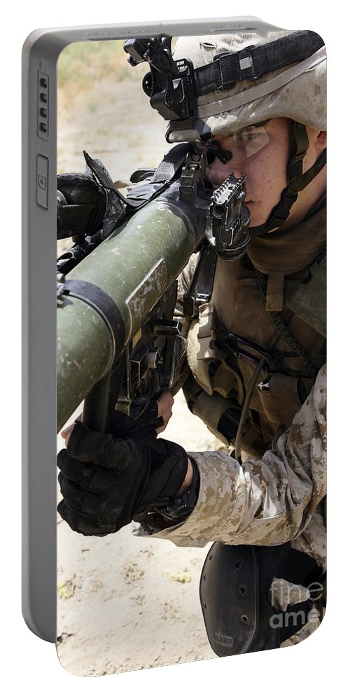 Aiming Portable Battery Charger featuring the photograph An Assaultman Handles by Stocktrek Images