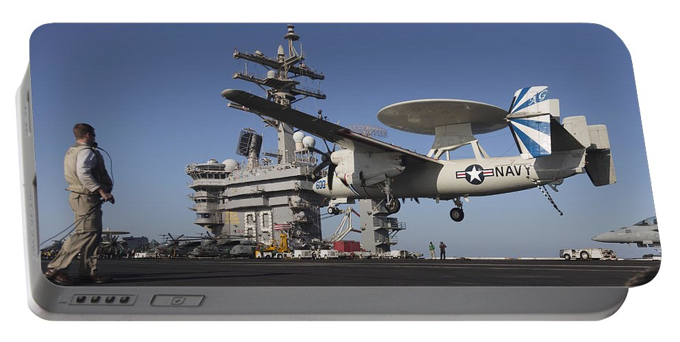 Arabian Sea Portable Battery Charger featuring the photograph An E-2c Hawkeye Makes An Arrested by Gert Kromhout
