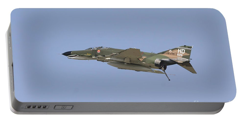 Horizontal Portable Battery Charger featuring the photograph An F-4 Phantom In Flight Over Houston by Terry Moore