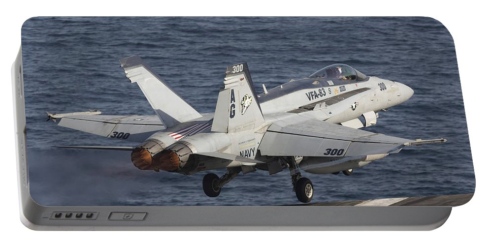 Arabian Sea Portable Battery Charger featuring the photograph An Fa-18c Hornet Taking by Gert Kromhout
