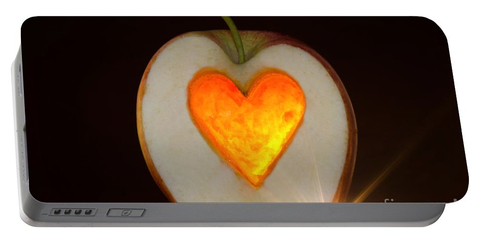 Apple Portable Battery Charger featuring the photograph Apple With A Heart by Mats Silvan
