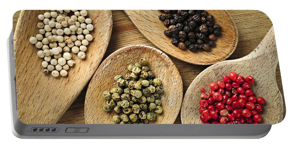Peppercorns Portable Battery Charger featuring the photograph Assorted Peppercorns by Elena Elisseeva