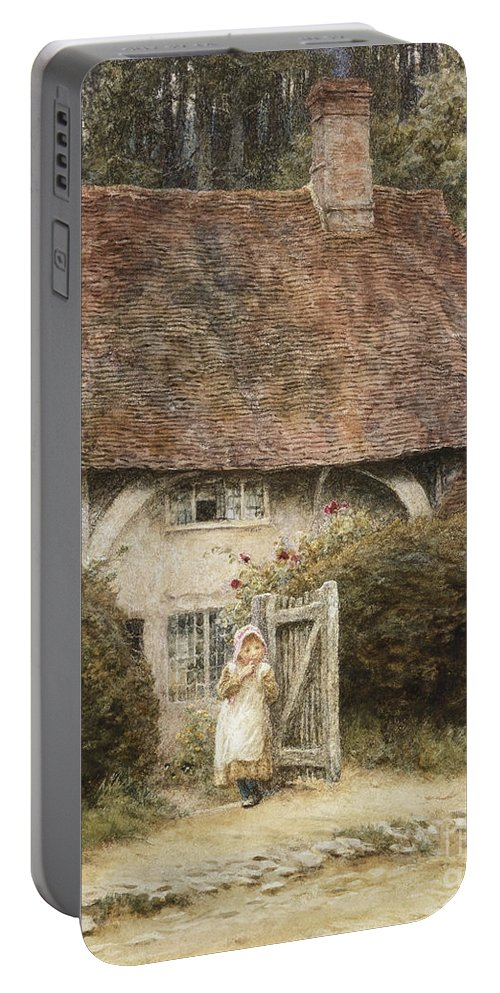 English; Landscape; C19th; C20th; Victorian; Exterior; Gateway; Female; Girl; Child; Path; Country; Lane Portable Battery Charger featuring the painting At The Cottage Gate by Helen Allingham