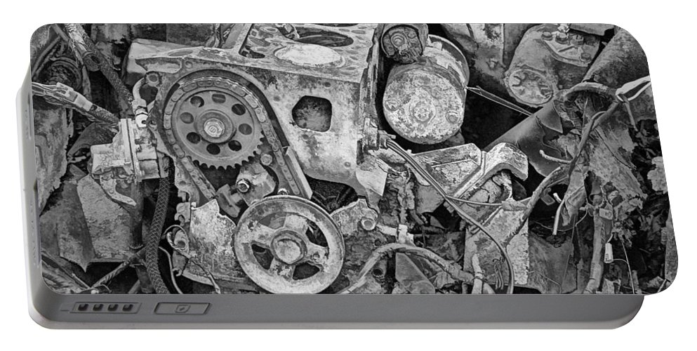 Art Portable Battery Charger featuring the photograph Auto Engine Block From A Wrecked Car by Randall Nyhof
