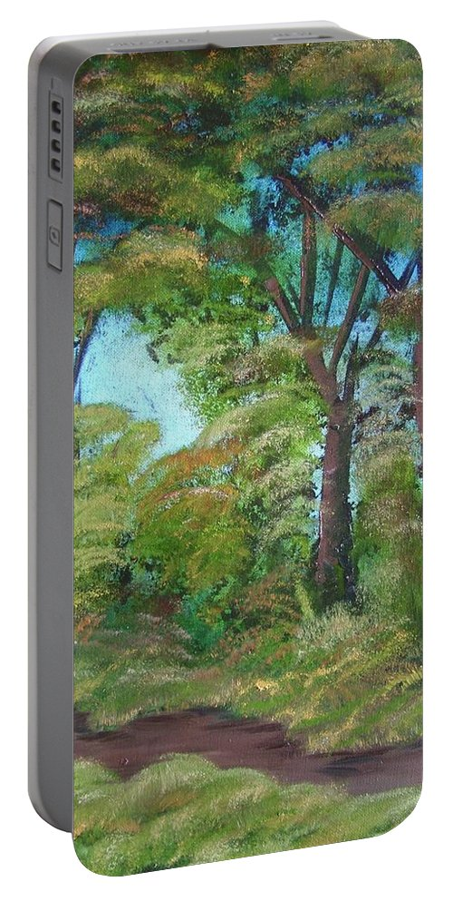 Autumn Portable Battery Charger featuring the painting Autumn Evening by Charles and Melisa Morrison