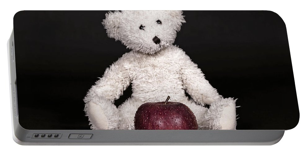 Teddy Portable Battery Charger featuring the photograph Bear And Apple by Joana Kruse