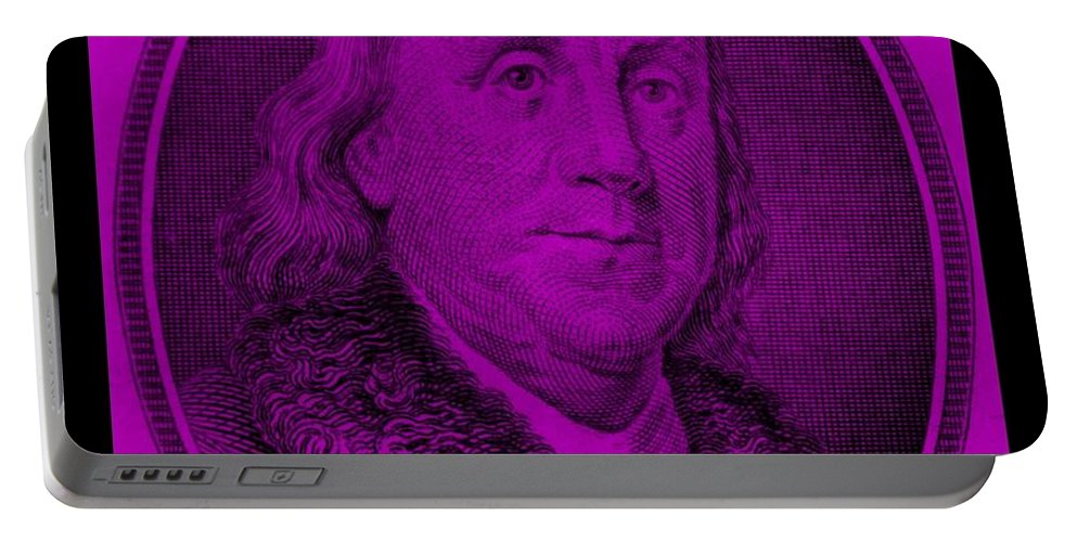 Ben Franklin Portable Battery Charger featuring the photograph Ben Franklin In Purple by Rob Hans