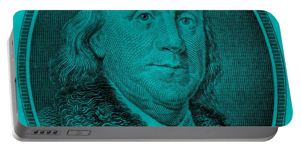 Ben Franklin Portable Battery Charger featuring the photograph Ben Franklin In Turquois by Rob Hans