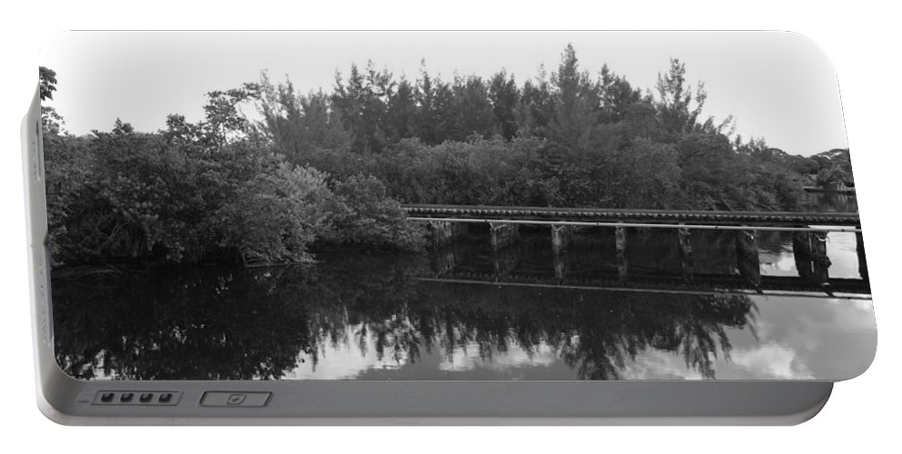 Black And White Portable Battery Charger featuring the photograph Big Sky On The North Fork River In Black And White by Rob Hans