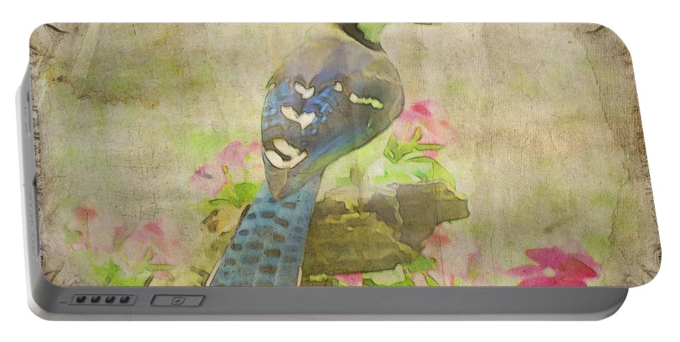 Nature Portable Battery Charger featuring the photograph Blue Jay With Texture II by Debbie Portwood