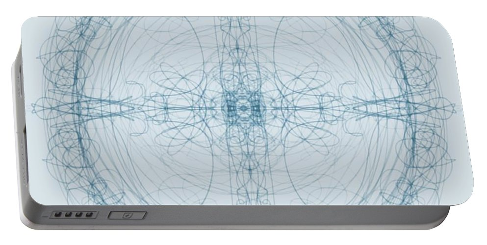 Blublue Portable Battery Charger featuring the digital art Blueprint by Paula Cork