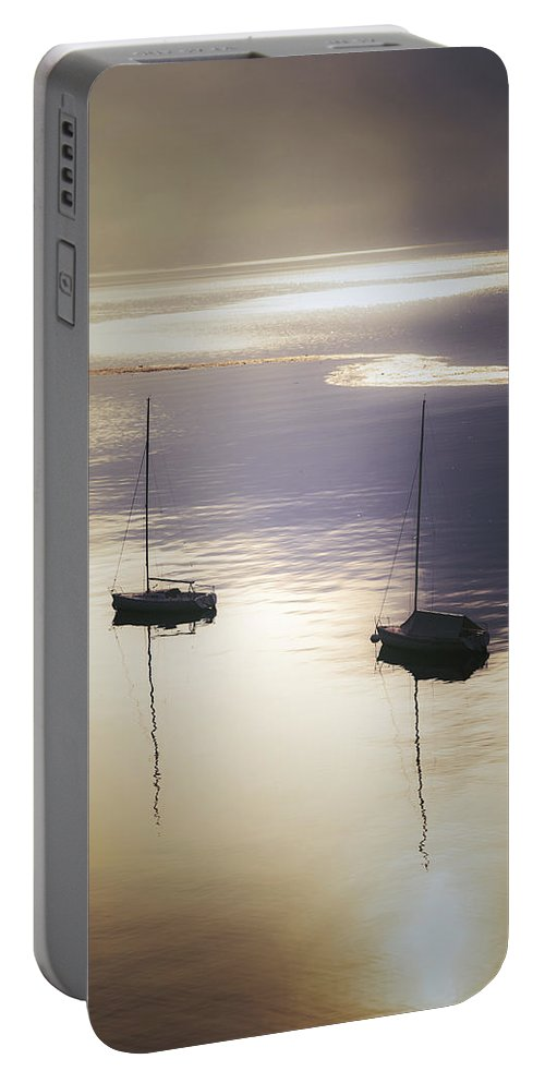 Boat Portable Battery Charger featuring the photograph Boats In Mist by Joana Kruse