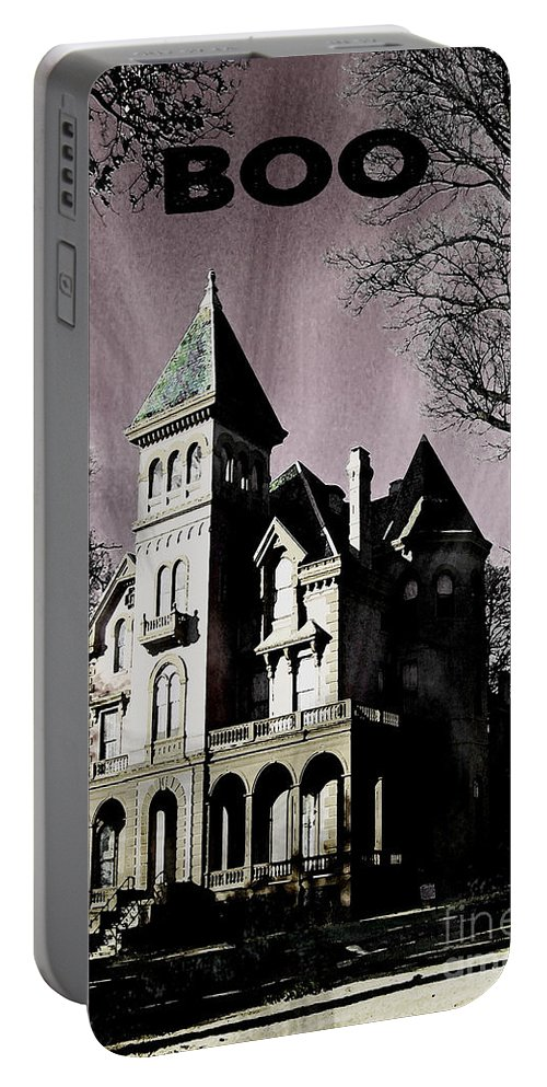 Victorian Mansion Portable Battery Charger featuring the digital art Boo by Lizi Beard-Ward