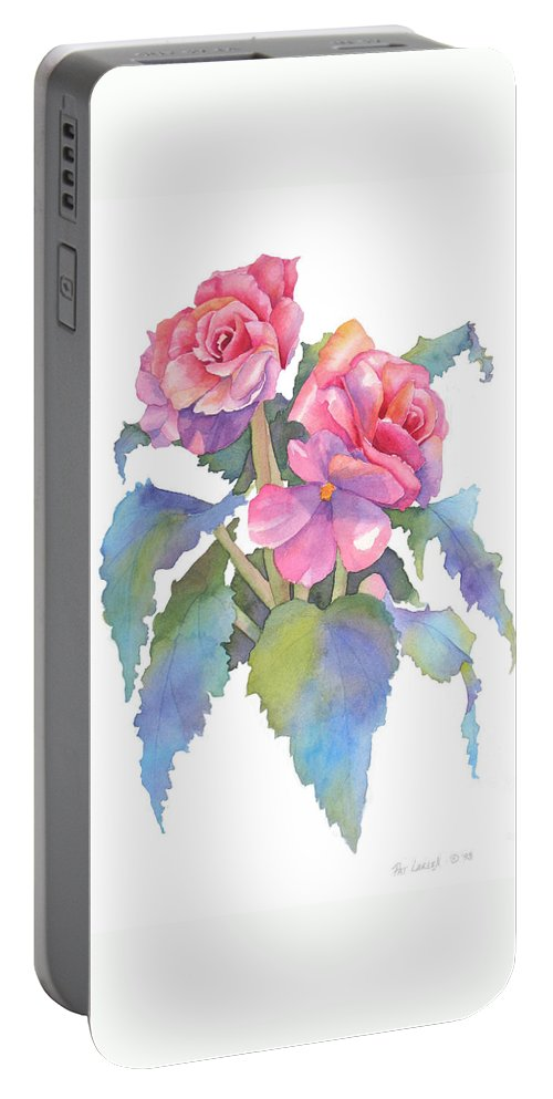 Begonias Portable Battery Charger featuring the painting Carmel Begonias by Pat Yager