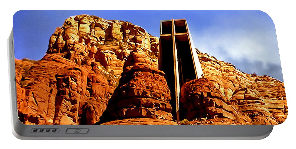 Chapel Portable Battery Charger featuring the painting Chapel Of The Holy Cross by Bob and Nadine Johnston