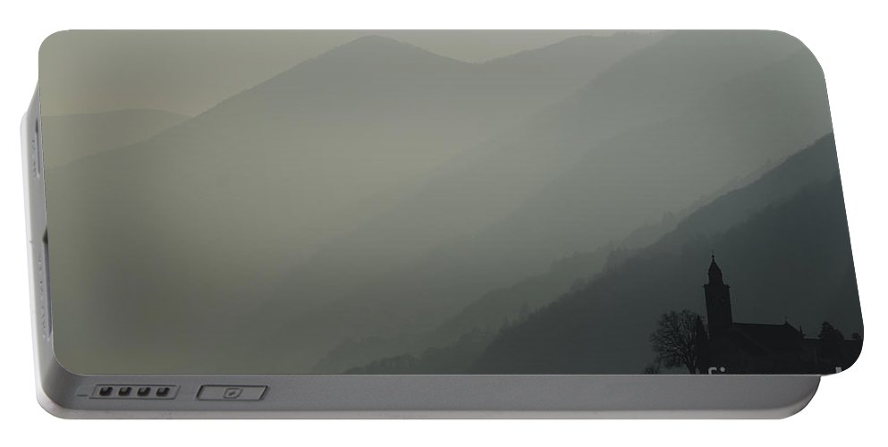 Church Portable Battery Charger featuring the photograph Church On A Foggy Mountain by Mats Silvan