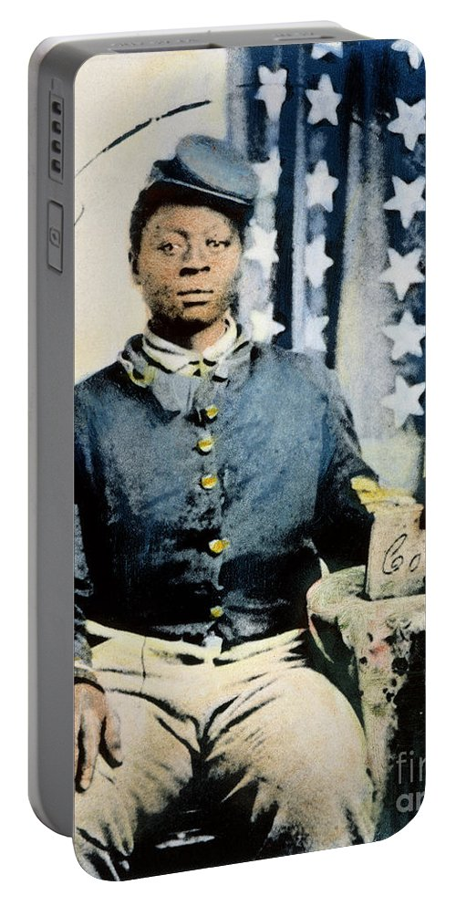 1860s Portable Battery Charger featuring the photograph Civil War: Black Soldier by Granger