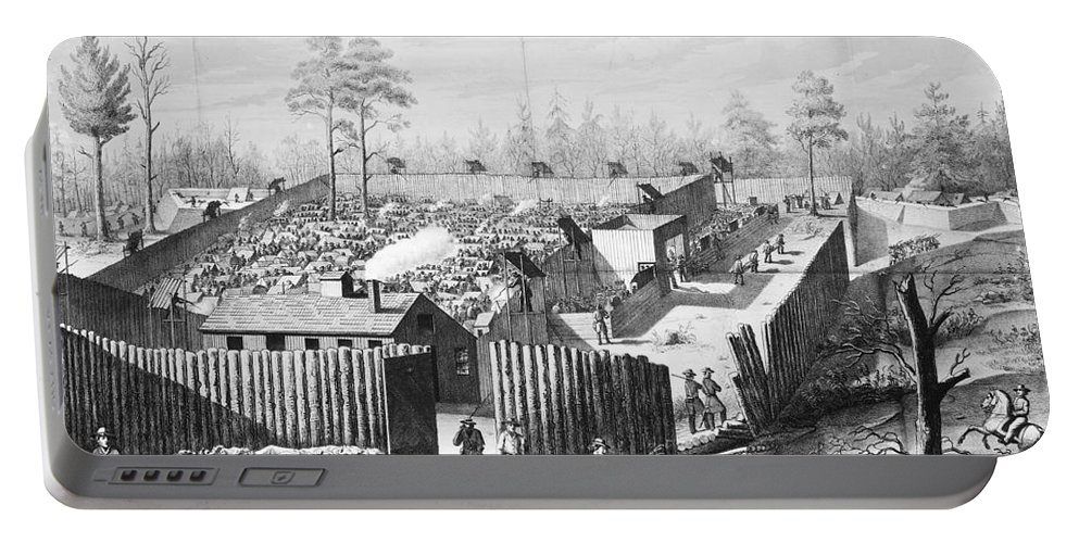 1864 Portable Battery Charger featuring the photograph Civil War: Prison, 1864 by Granger
