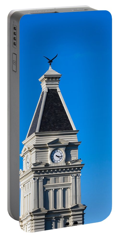 Architecture Portable Battery Charger featuring the photograph Clarksville Historic Courthouse Tower by Ed Gleichman