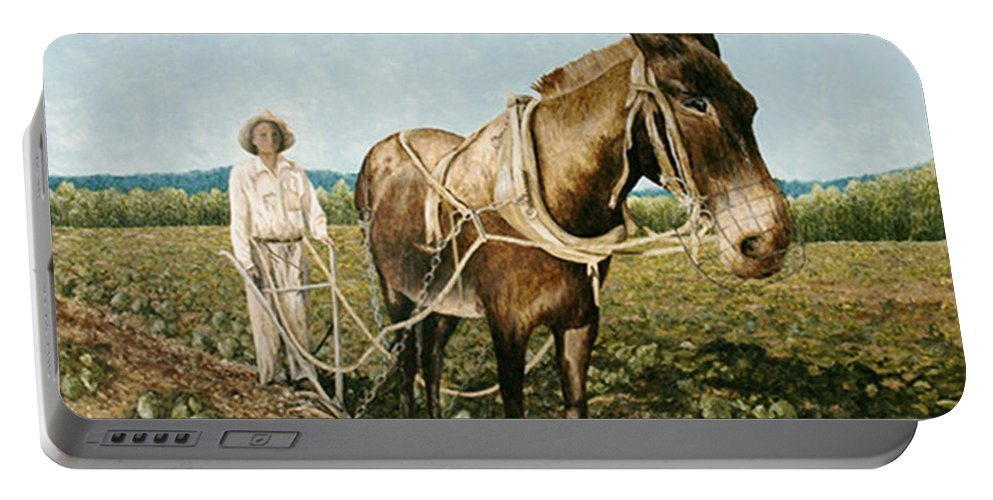 Mule Paintings Portable Battery Charger featuring the painting Clay Collins And Old Jake by Mary Ann King