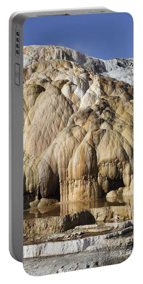 Unesco Portable Battery Charger featuring the photograph Cleopatra Terrace, Mammoth Hot Springs by Richard Roscoe