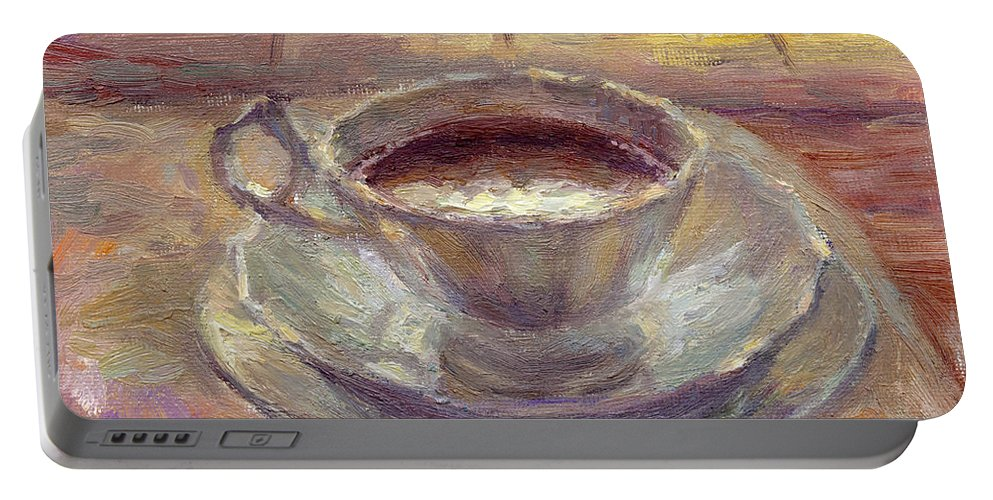 Coffee Cup Portable Battery Charger featuring the painting Coffee Cup Still Life Painting by Svetlana Novikova