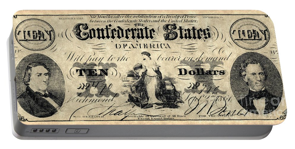 1861 Portable Battery Charger featuring the photograph Confederate Banknote by Granger