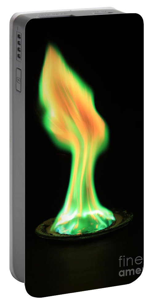 Copper(ii) Chloride Portable Battery Charger featuring the photograph Copperii Chloride Flame Test by Ted Kinsman