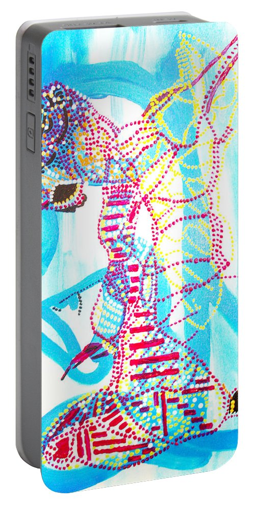 Jesus Portable Battery Charger featuring the painting Dinka Angel Bride - South Sudan by Gloria Ssali