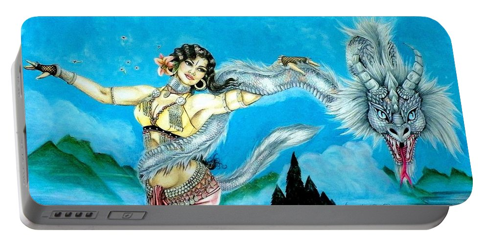 Pen And Ink Portable Battery Charger featuring the mixed media Dragon Dancer by Scarlett Royal