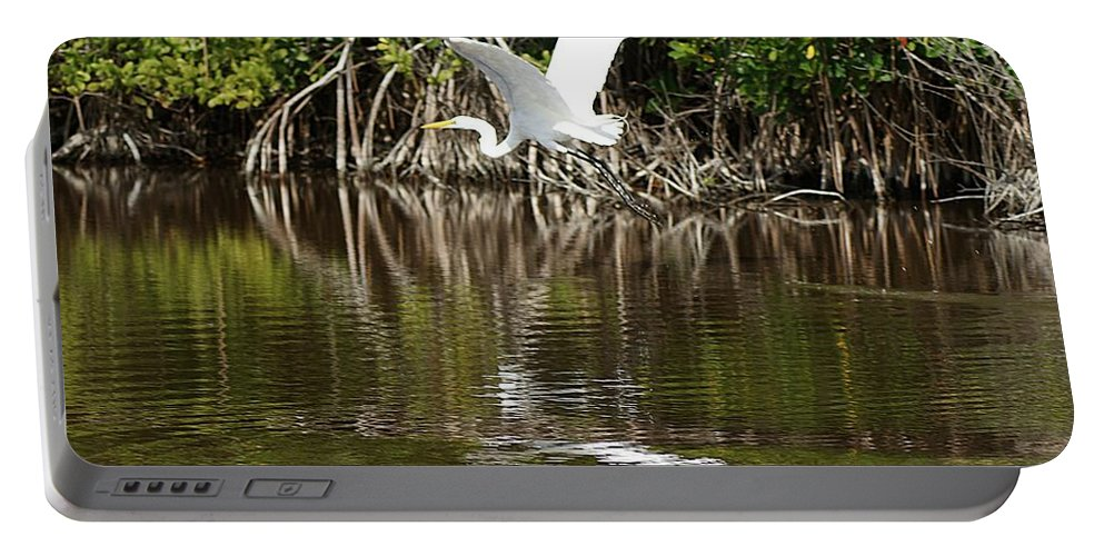 Egret Portable Battery Charger featuring the photograph Egret In Flight by Joe Faherty
