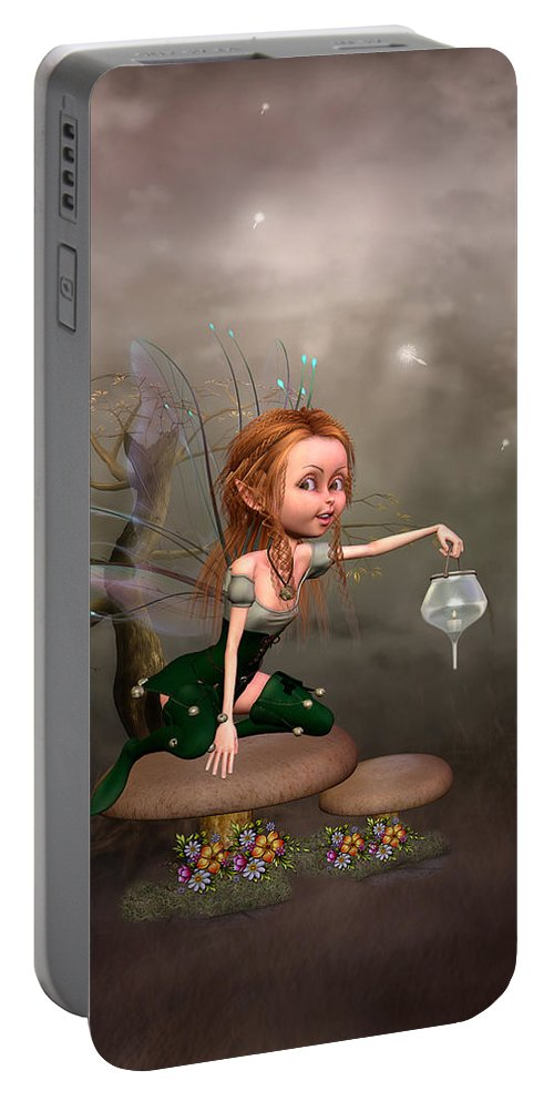 Fantasy Paintings Portable Battery Charger featuring the digital art Enchanted Woods by John Junek