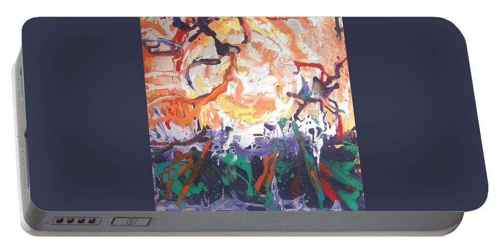 Abstract Portable Battery Charger featuring the painting Fire by Hira Bosh