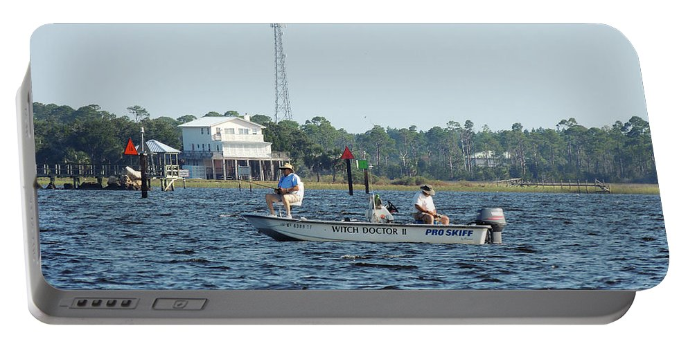 Fishing Portable Battery Charger featuring the photograph Fishing The Flats by Marilyn Holkham