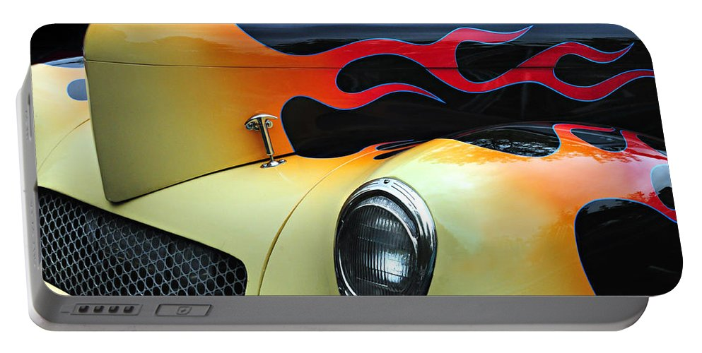 Custom Car Portable Battery Charger featuring the photograph Flames by Dave Mills