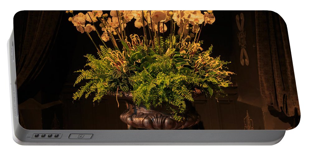 Flowers Portable Battery Charger featuring the photograph Flower Arrangement Chateau Chenonceau by Louise Heusinkveld