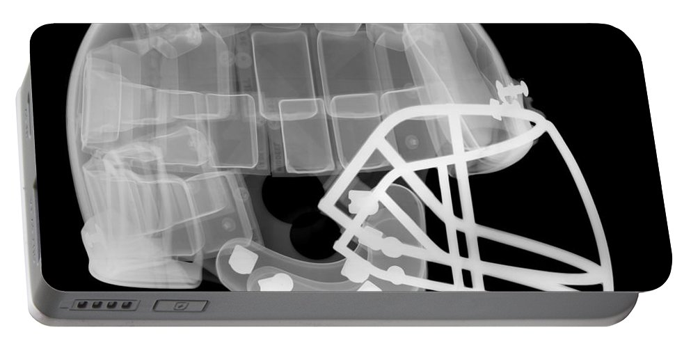 Football Helmet Portable Battery Charger featuring the photograph Football Helmet, X-ray by Ted Kinsman