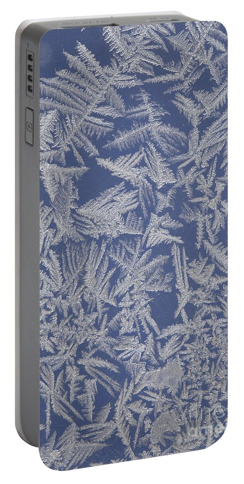 Frost Portable Battery Charger featuring the photograph Frost On A Window by Ted Kinsman