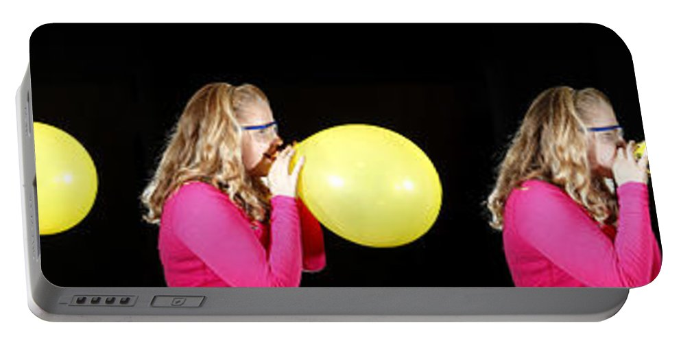 Person Portable Battery Charger featuring the photograph Girl Bursting A Balloon by Ted Kinsman