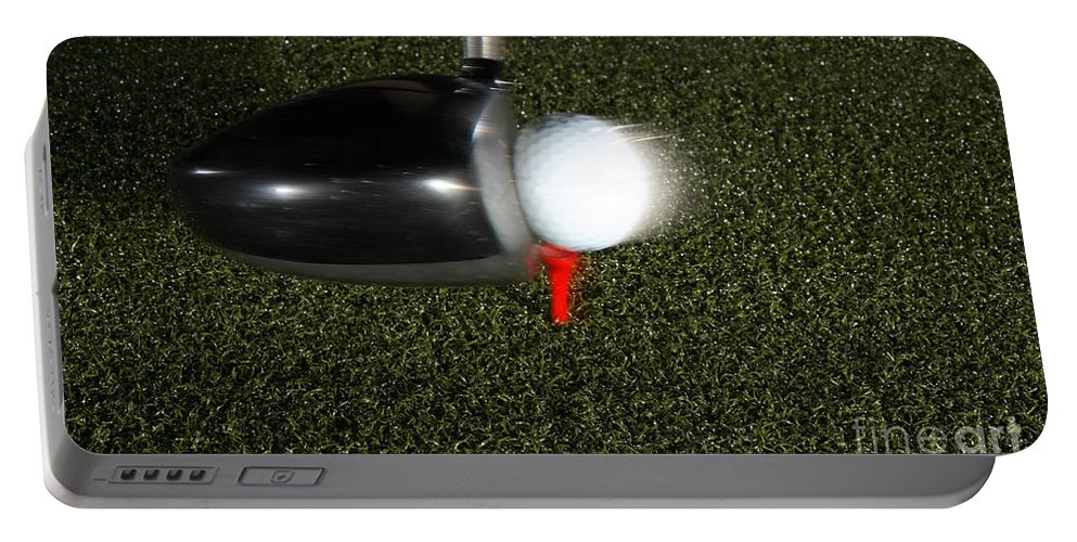 Ball Portable Battery Charger featuring the photograph Golf Club Hitting Ball by Ted Kinsman