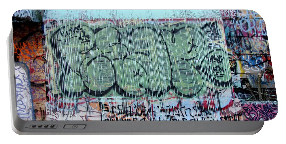 Urban Portable Battery Charger featuring the photograph Graffiti - Tubs Iv by Kathleen Grace