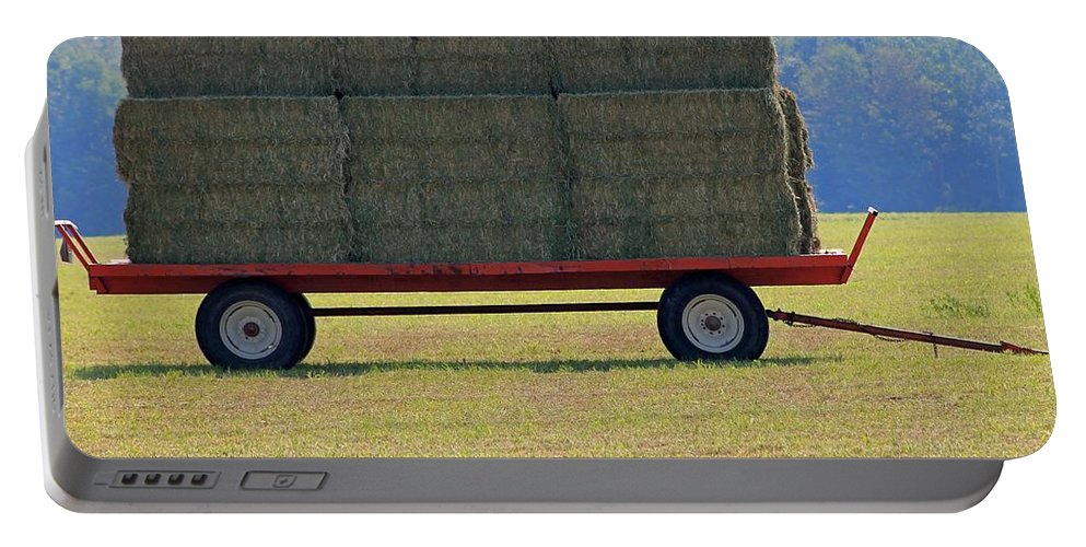 Farm Portable Battery Charger featuring the photograph Hay Wagon by J McCombie