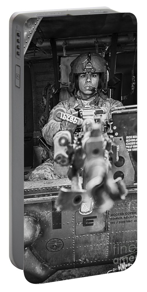 Vertical Portable Battery Charger featuring the photograph Hdr Image Of A Uh-60 Black Hawk Door by Terry Moore