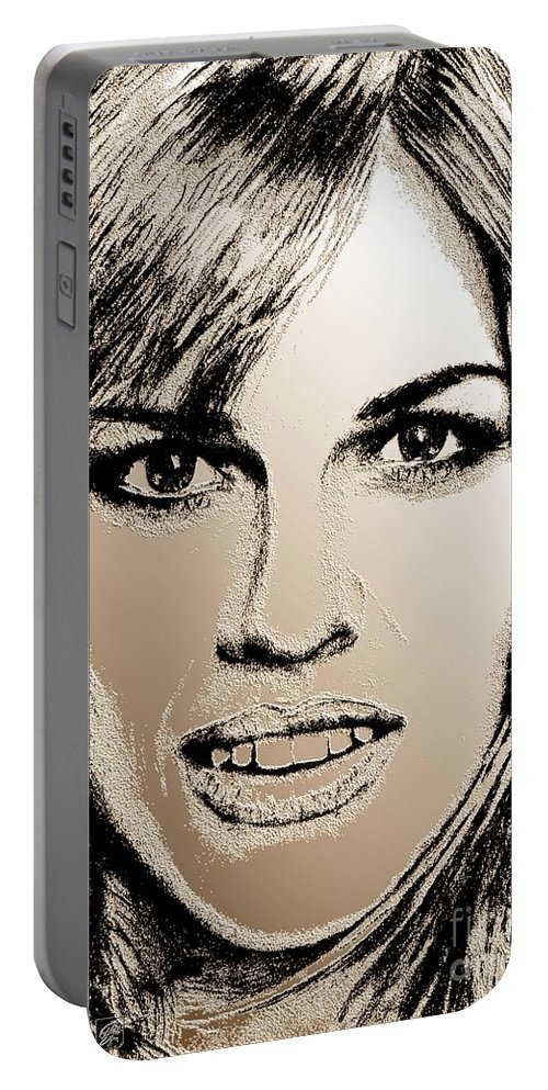 Hilary Swank Portable Battery Charger featuring the digital art Hilary Swank In 2007 by J McCombie