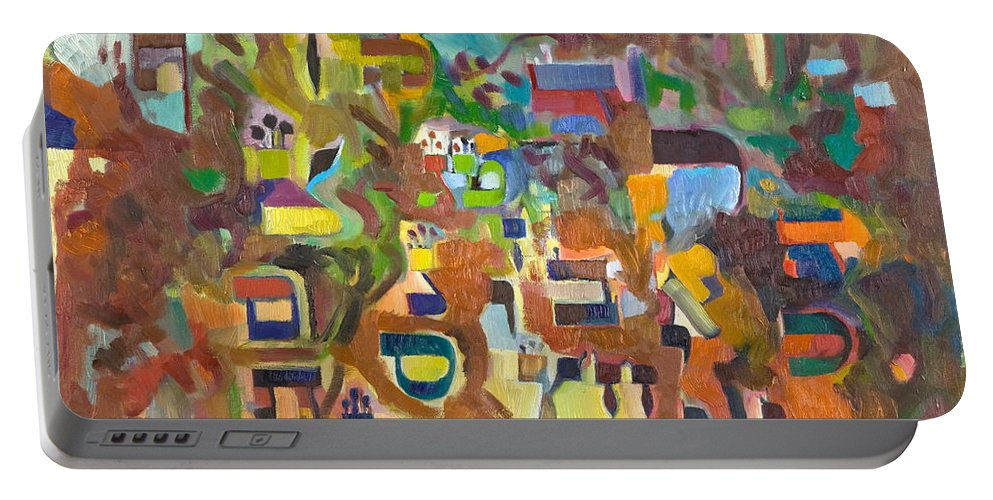 Torah Portable Battery Charger featuring the painting Holy Alphabet by David Baruch Wolk