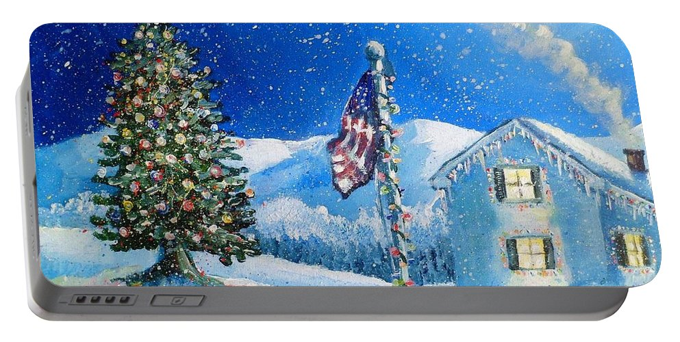 Christmas Portable Battery Charger featuring the painting Home For The Holidays by Shana Rowe Jackson